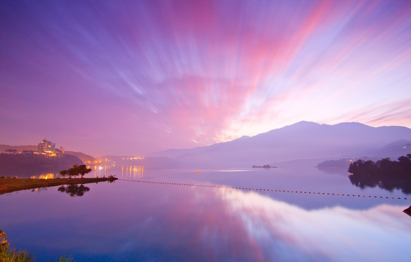 Picture The sky, Water, Clouds, Home, The ocean, Mountains, Lights, Grass, Trees