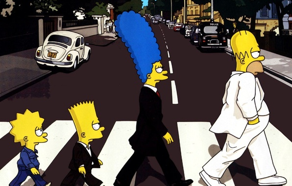 Photo Wallpaper The Simpsons Transition Abbey Road Beatles