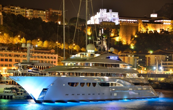 Picture night, city, the city, castle, mountain, home, the evening, port, helicopter, Monaco, Palace, night, Monaco, …