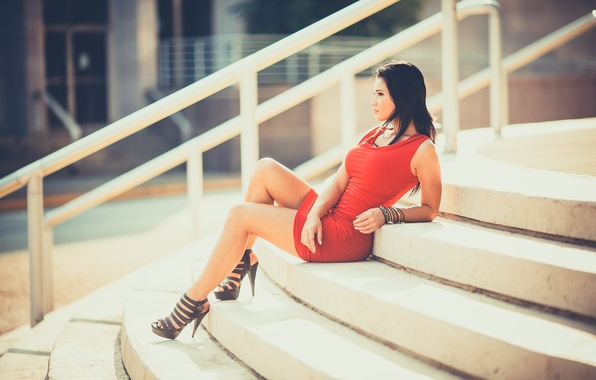 Picture Girl, Red, Model, Emily, Dress, Sitting, Stairs