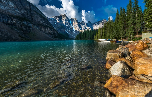 Picture forest, trees, mountains, lake, house, stones, rocks, shore, boats, pier, glacier, Canada, Banff National Park, …