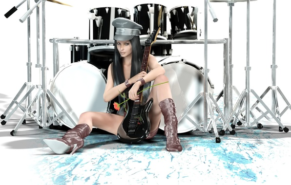 Picture girl, style, guitar, drums, different