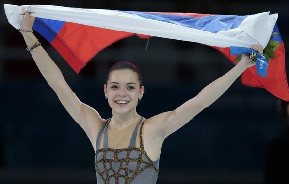 Picture joy, gold, flag, figure skating, Russia, RUSSIA, Sochi 2014, The XXII Winter Olympic Games, Sochi …