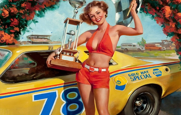 Picture machine, girl, joy, smile, flag, art, beautiful, pin-up, painting, racer, style, Cup, painting, pin-up, the …