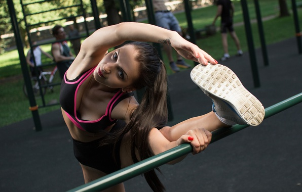 Picture girl, sports, Playground, exercise, warm-up
