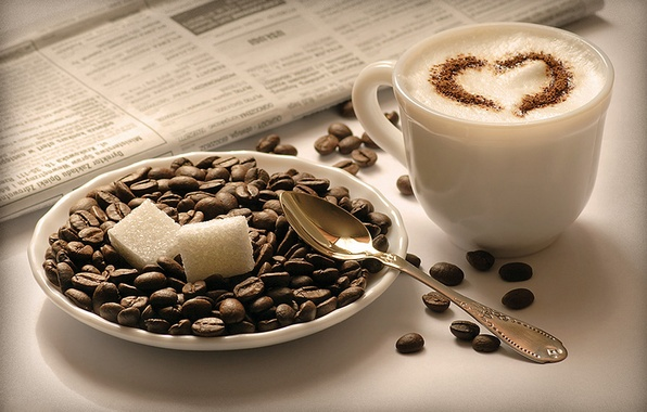 Picture cubes, coffee, grain, spoon, Cup, newspaper, sugar, saucer, Cappuccino, cappuccino
