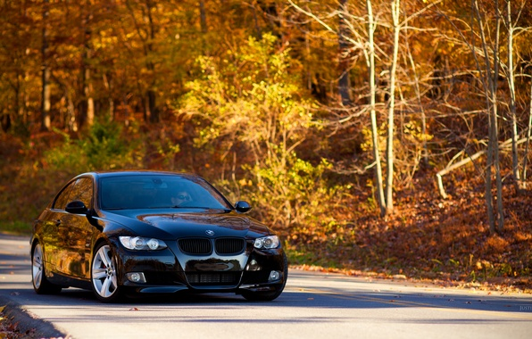 Picture Road, Autumn, BMW, Leaves, Tuning, Black, BMW, E92