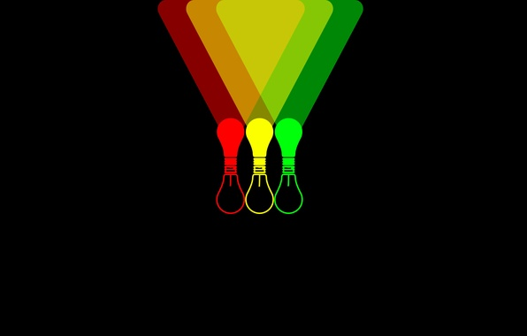 Picture light bulb, color, light, background, Wallpaper, black, minimalism, red, green, light bulb, yellow, Shine