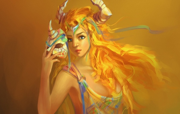 Picture girl, mask, art, horns, yellow background