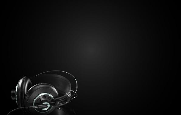 Picture background, darkness, Wallpaper, headphones