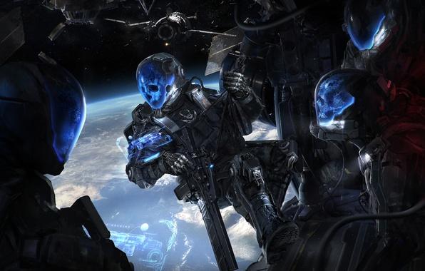 Picture space, weapons, fiction, ship, art, armor, helmets. skull, Defcon Zero