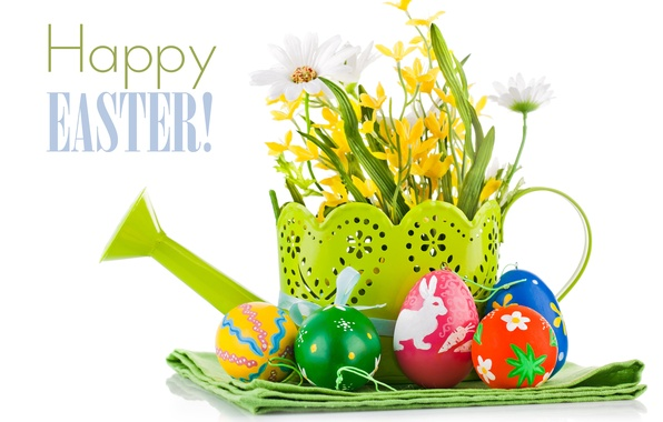 Picture flowers, eggs, Easter, lake, eggs