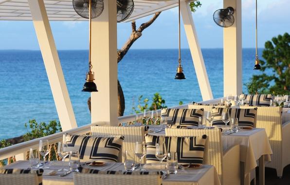 Photo Wallpaper Beachfront Sea View Restaurant Terrace