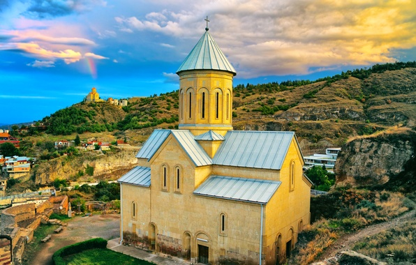 Picture the sky, clouds, mountain, home, slope, Church, Georgia, Tbilisi, Tbilisi