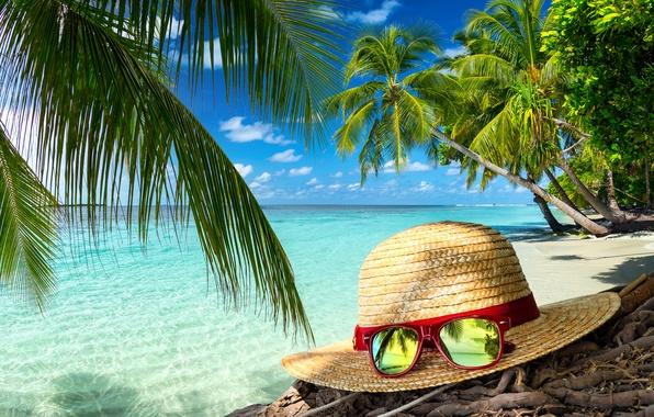 Picture sand, sea, beach, summer, hat, glasses, summer, beach, sea, sand, vacation