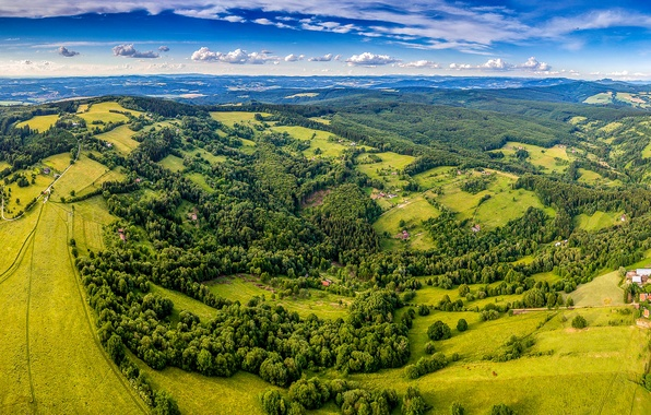 Picture greens, summer, the sky, the sun, clouds, trees, field, Czech Republic, panorama, houses, forest, the ...
