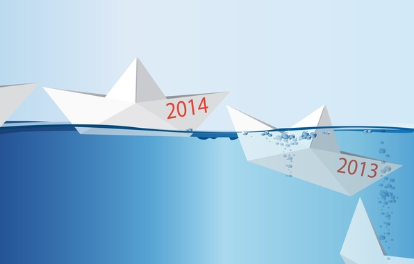 Picture concept, happy new year, Happy New year, 2014, the concept, Origami, ship in water, the …