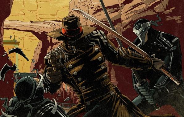 Picture katana, hero, cloak, revolver, samurai.hat, Red Stel 2
