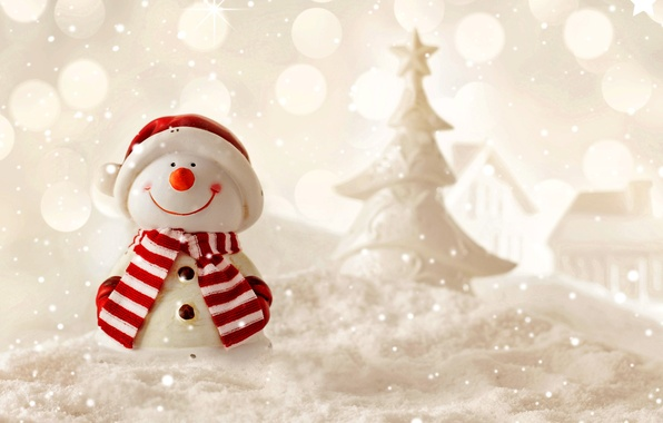Picture winter, snow, New Year, snowman, Christmas, winter, snow, Merry
