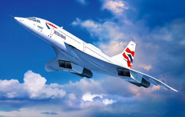 Picture art, airplane, painting, aviation, jet, Concorde British Airways