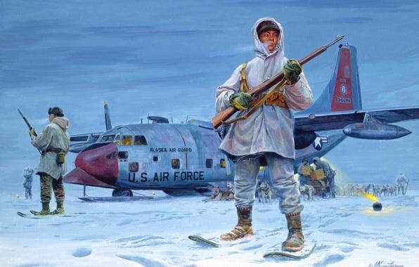 Picture dogs, snow, the plane, figure, Alaska, Mort Kunstler, the Eskimos, guardians of the North, sleds, …
