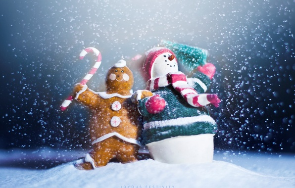 Picture holiday, new year, snowman, new year, happy, winter, snow, snowman, gingerbread