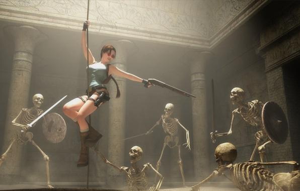 Picture sword, rope, skeleton, Tomb Raider, sword, shield, art, Lara Croft, shield, Shotgun, fan, Shotgun