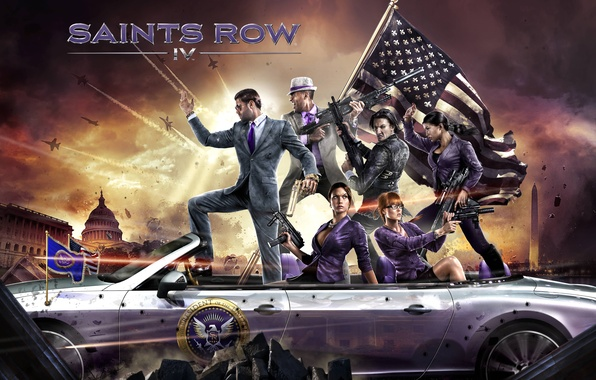Picture weapons, flag, car, characters, Washington, Deep Silver, Saints Row 4