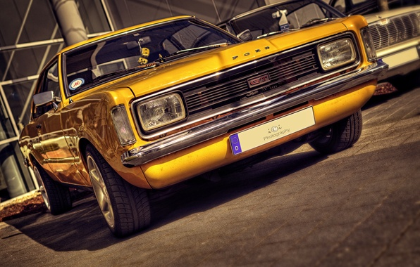 Picture yellow, retro, HDR, Ford, FORD TAUNUS GT