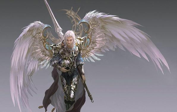 Picture wings, sword, armor, warrior, helmet, cloak, grey background, Archangel