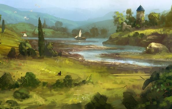 Picture greens, cat, grass, river, art, painted landscape