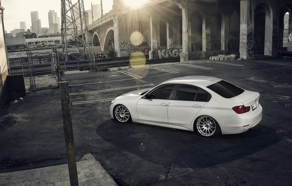 Picture BMW, City, Sun, White, Back, 328i, F30, Alpine, Wheels, VMR