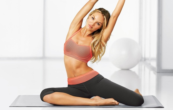 Picture charging, stretching, model, beauty, Victoria's Secret Angels, blonde, Candice Swanepoel, fitness, yoga