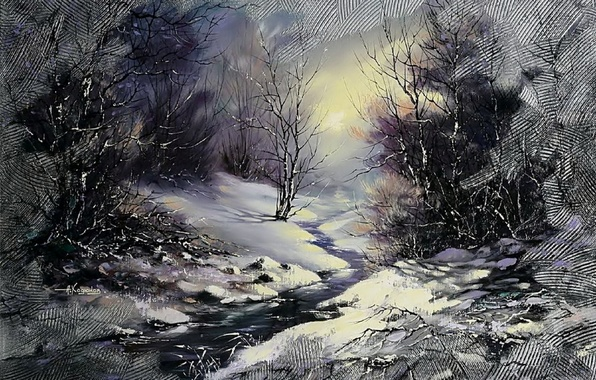 Picture winter, forest, landscape, night, river, stream, the moon, Christmas, picture, painting, Khodukov, spatula