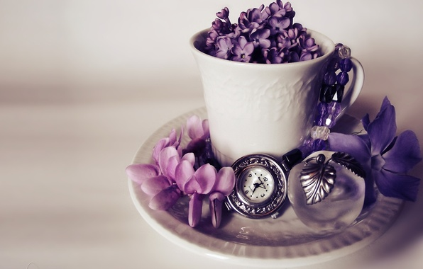 Picture flowers, watch, Apple, mug, lilac, souvenir
