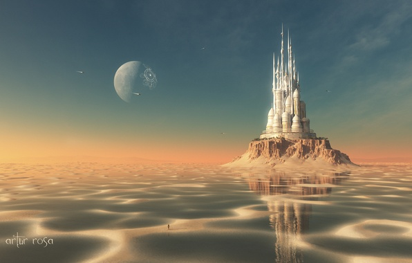 Picture sand, water, castle, people, island, planet, ships, stranded, render
