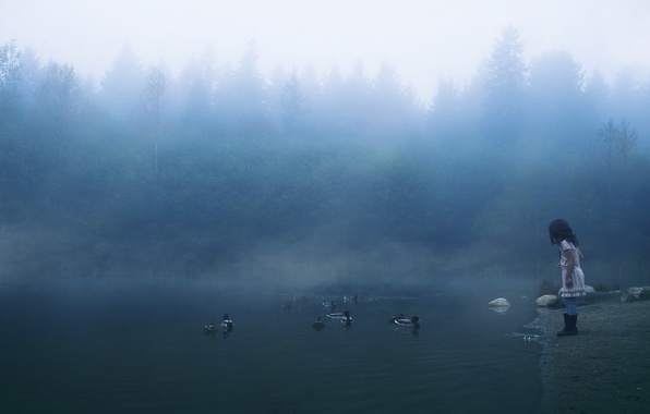 Picture river, duck, girl, misty morning