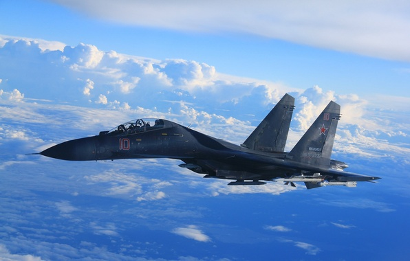 Picture the sky, clouds, fighter, flight, Su-35, jet, multipurpose, super-maneuverable