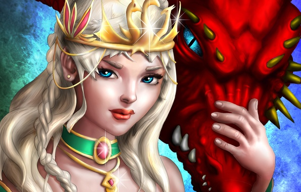 Picture decoration, dragon, crown, art, blonde, braids, Daenerys Targaryen, game of thrones, Game Of Thrones