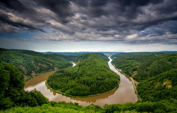 Picture forest, the sky, clouds, trees, landscape, clouds, nature, river, view, height, Germany, bending, panorama, river, …