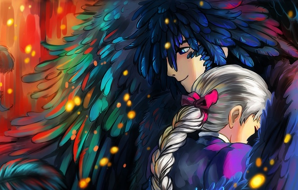 Picture girl, anime, feathers, art, hugs, guy, howl, Howl's Moving Castle, Sophie, howl's moving castle, sophie …