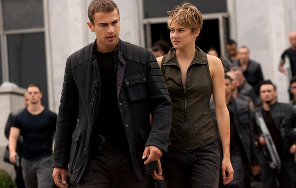 Picture girl, gun, wanted, soldiers, weapon, woman, man, resistance, rifle, jacket, Four, insurgents, Theo James, Shailene …
