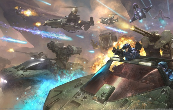 Picture future, weapons, arrows, explosions, ships, gun, battle, future, soldiers, fire, storm, Halo, tanks, landing, flash, …