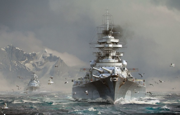Picture The sky, Water, Clouds, Sea, Mountains, Wave, Smoke, Snow, Ship, Ships, Seagulls, Battleship, Bismarck, Wargaming ...