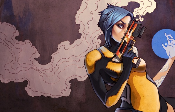 Picture girl, gun, weapons, smoke, art, Maya, Borderlands 2