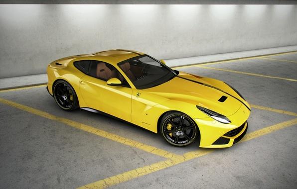 Picture strip, yellow, Parking, ferrari, Ferrari, yellow, the view from the top, F12 berlinetta, F12 Berlinetta
