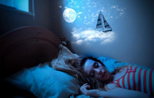 Picture girl, mood, sleep