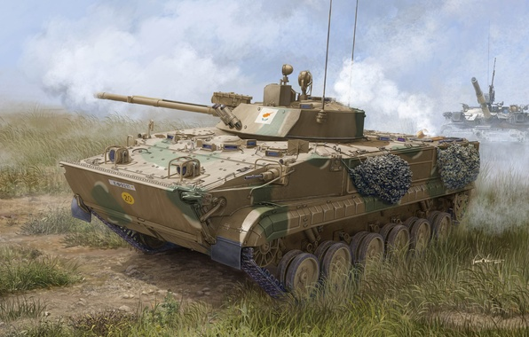 Picture machine, art, artist, polygon, exercises, Soviet, Cyprus, infantry fighting vehicle, The BMP-3, composition, action, armored, …