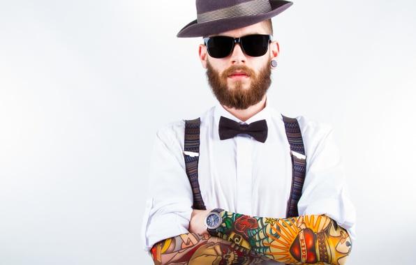 Picture fashion, pose, tattoos, shirt, sunglasses, beard