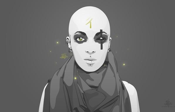 Picture grey, minimalism, Buddha